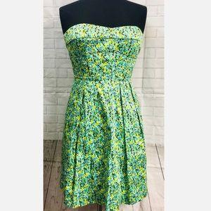 Cynthia Steffe Green Floral Strapless Dress